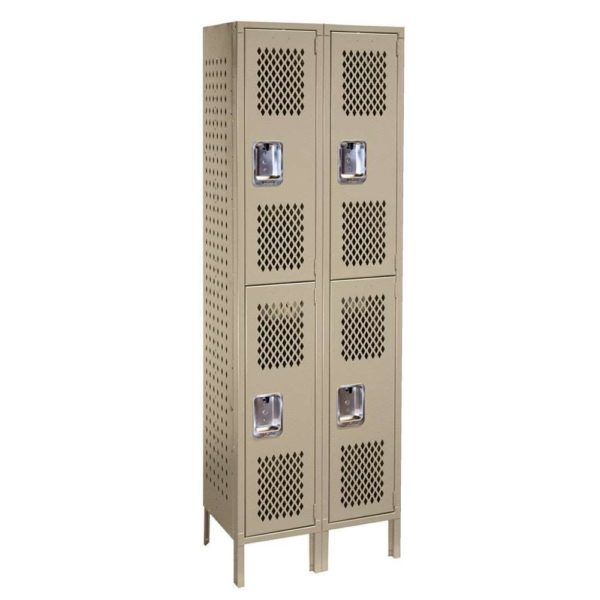 lyon heavy duty ventilated lockers double tier two wide putty