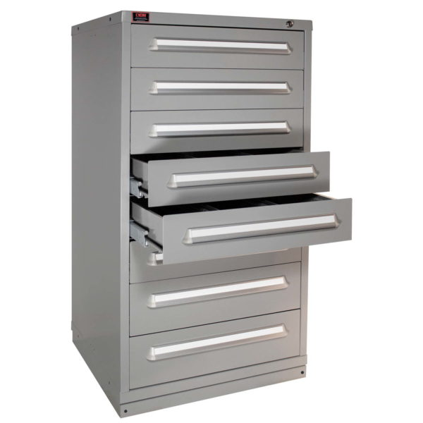 Cabinets with multiple drawer access allow several drawers to be open at one time.